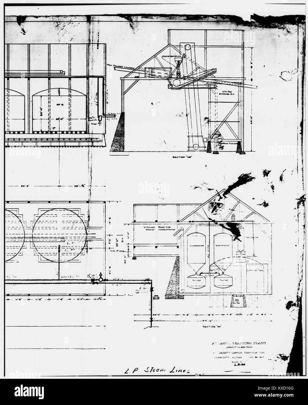 47. PHOTOCOPY OF DRAWING, AMMONIA LEACHING PLANT - Kennecott Copper Corporation, On Copper River ^ Northwestern - Stock Image