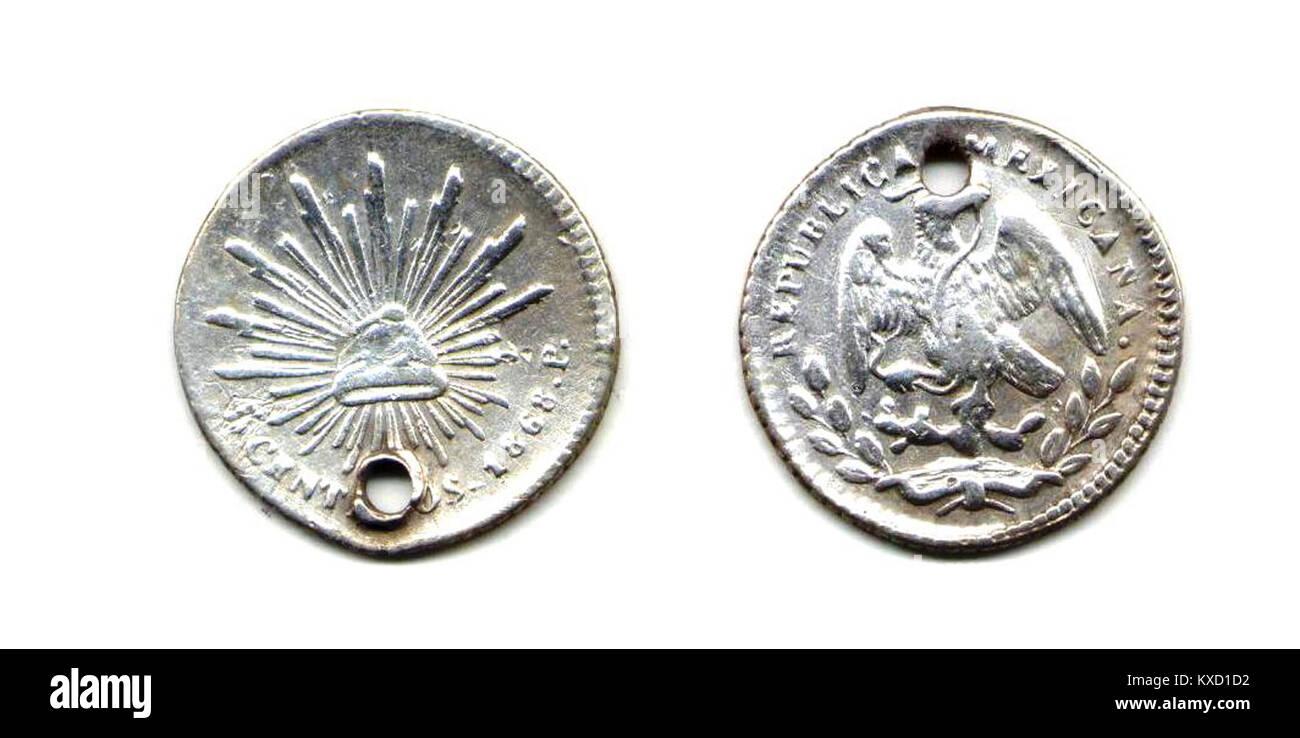 5 centavos de San Luis Potosí de 1868 (anverso y reverso) - Stock Image