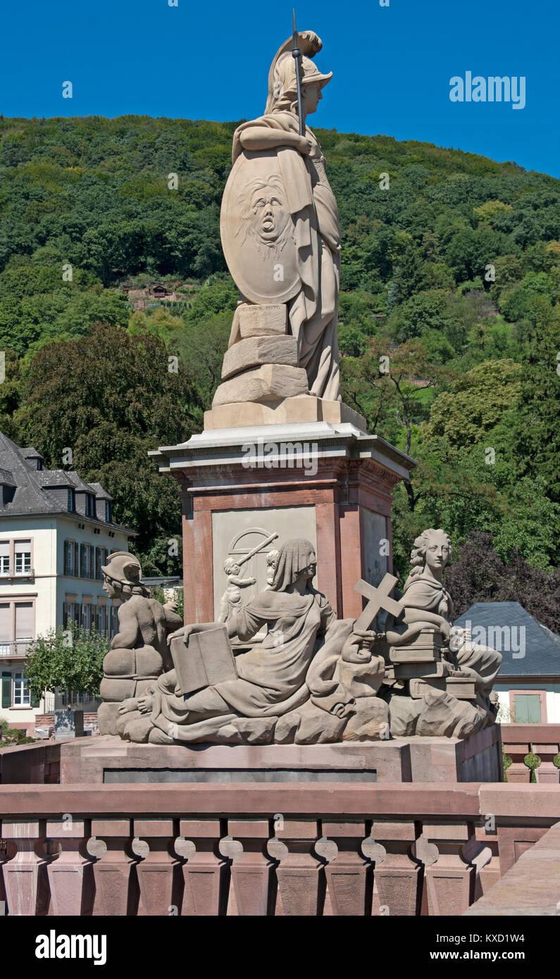 Heidelburg, Hochwasser Bedrohten Einst Die Stadt Statue, on Old Bridge, (Alte Brucke,) River Neckar, Baden, Wurttemberg, - Stock Image