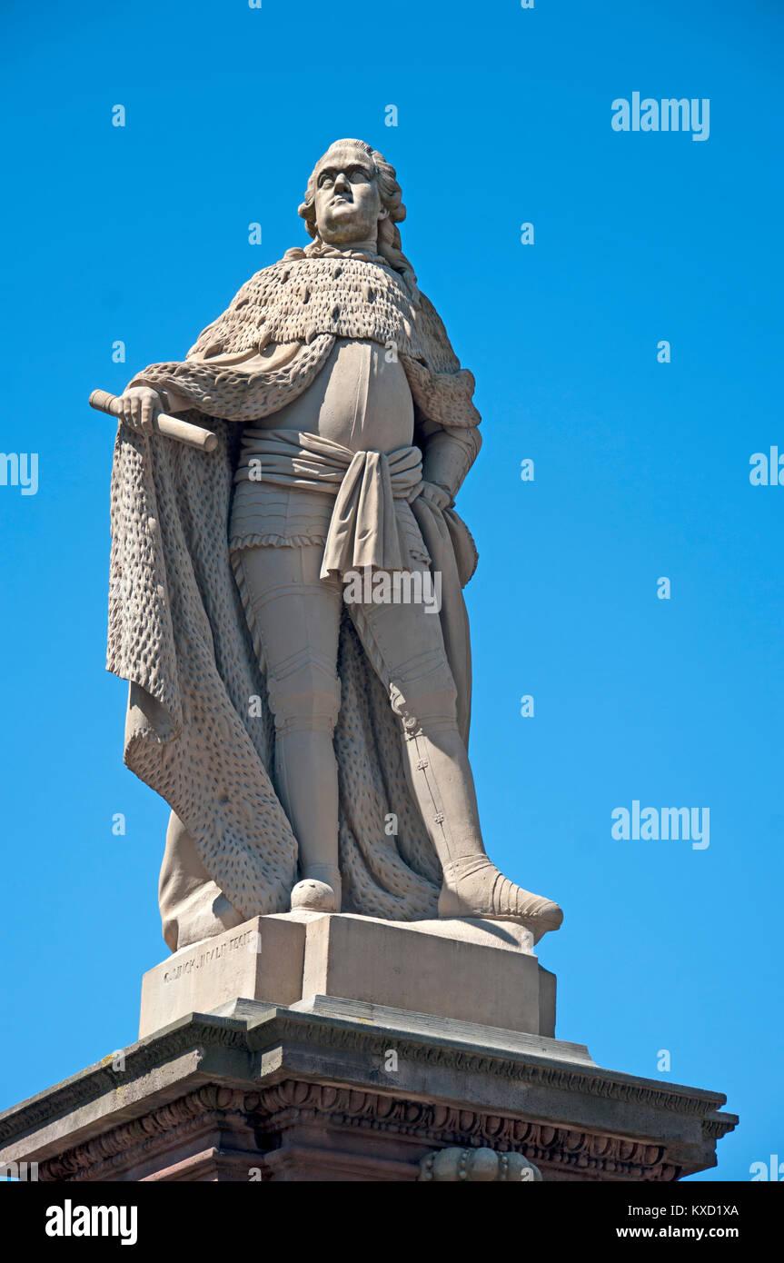 Heidelburg, Old Bridge, Hochwasser Bedrchten Einst Die Stadt Statue, River Neckar, Germany, - Stock Image