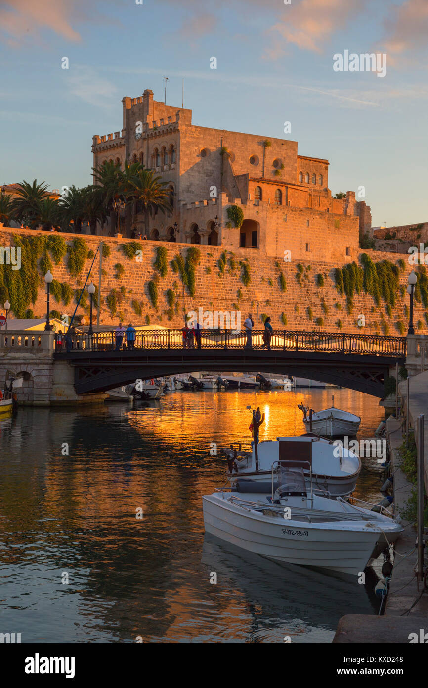 Historic old harbour, Ciutadella, Menorca, Balearic Islands, Spain, Europe, - Stock Image