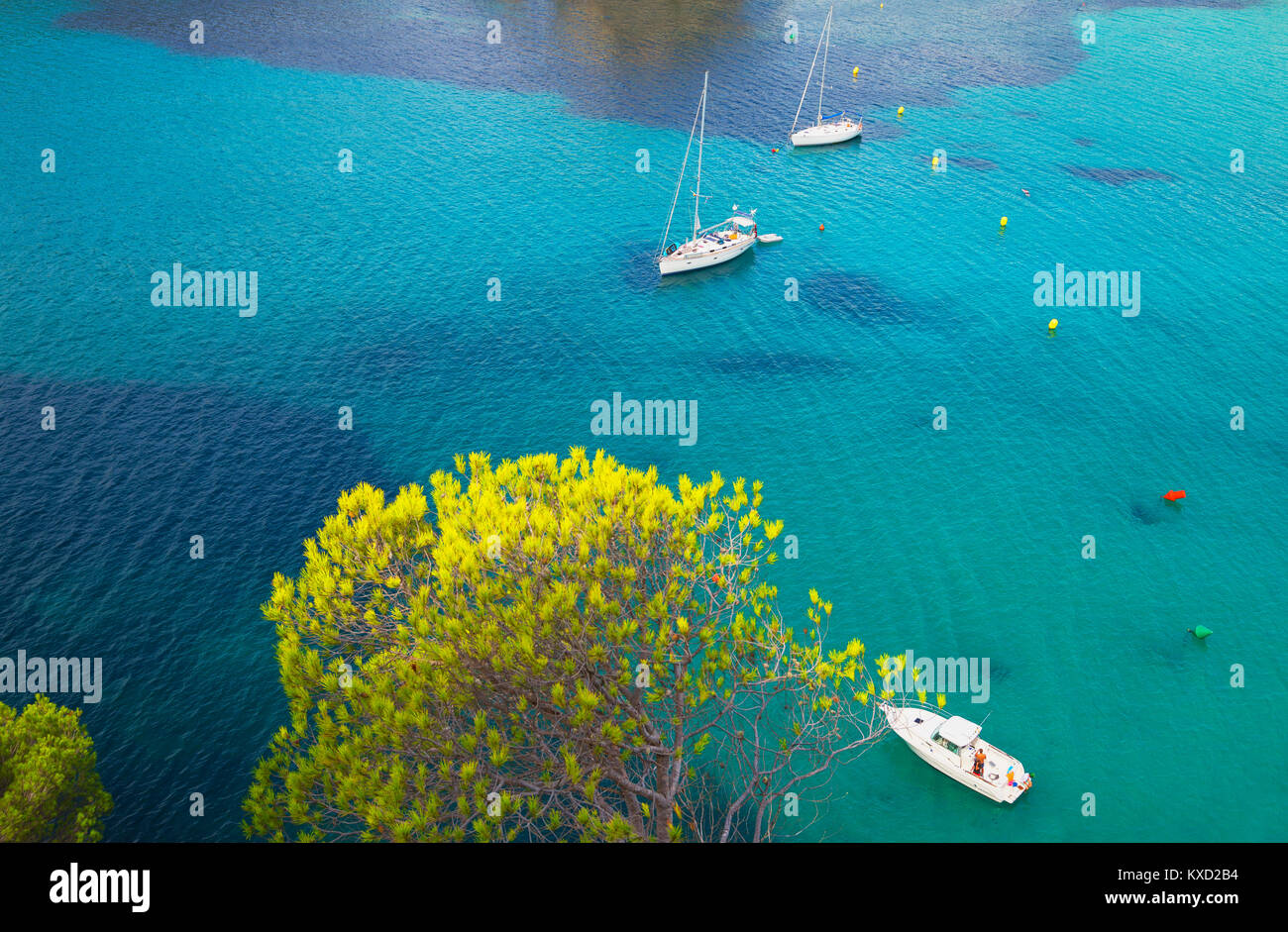 View of Cala Galdana and sailboats, Menorca, Balearic Island, Spain, Europe - Stock Image