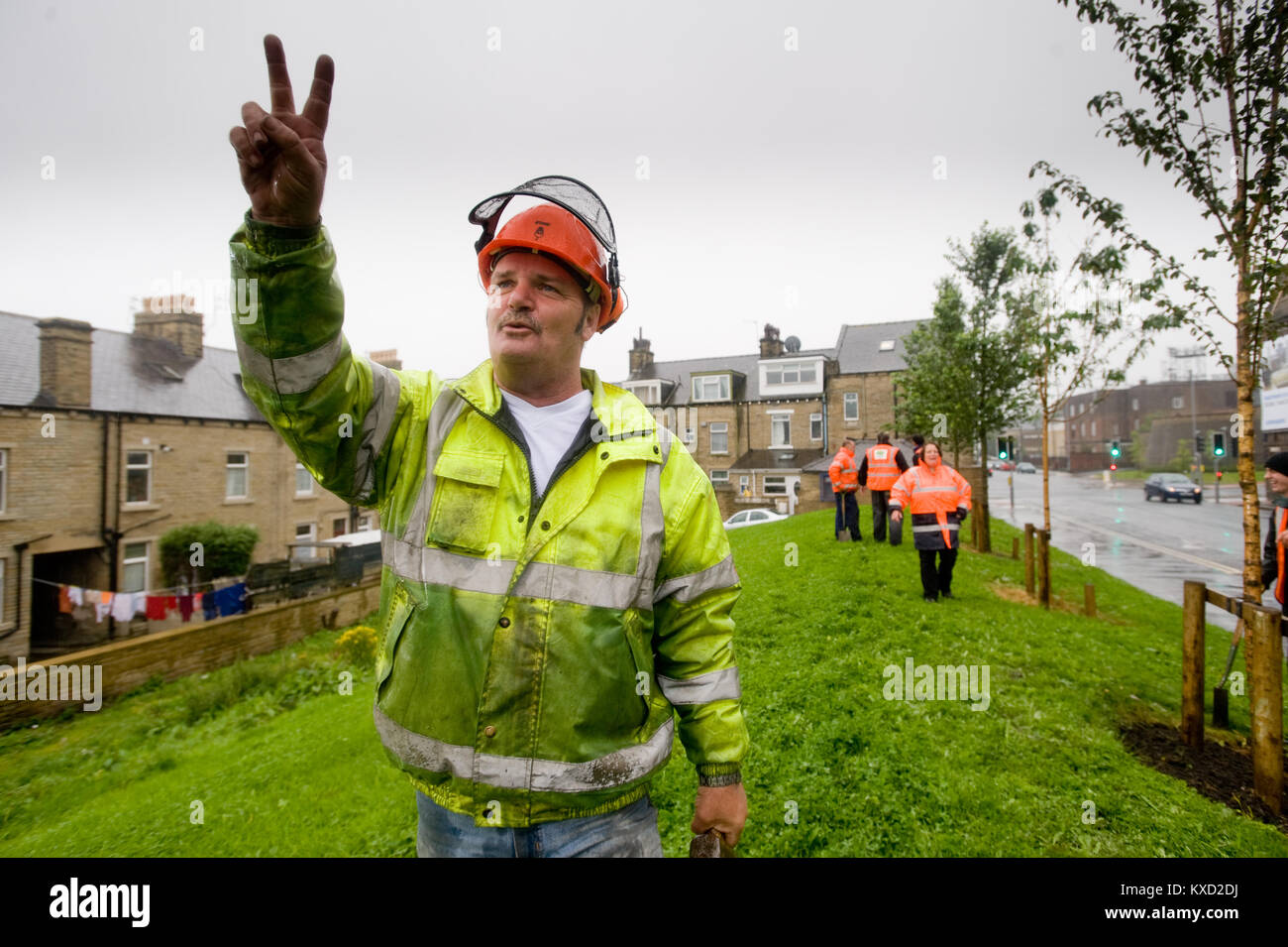 Maintaining recently landscaped area next to Manningham Mill, Bradford - Stock Image