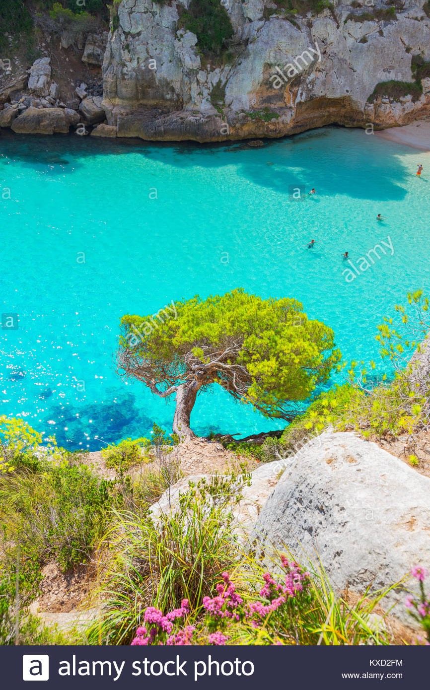 Vew of Cala Macarelleta, Menorca, Balearic Islands, Spain - Stock Image