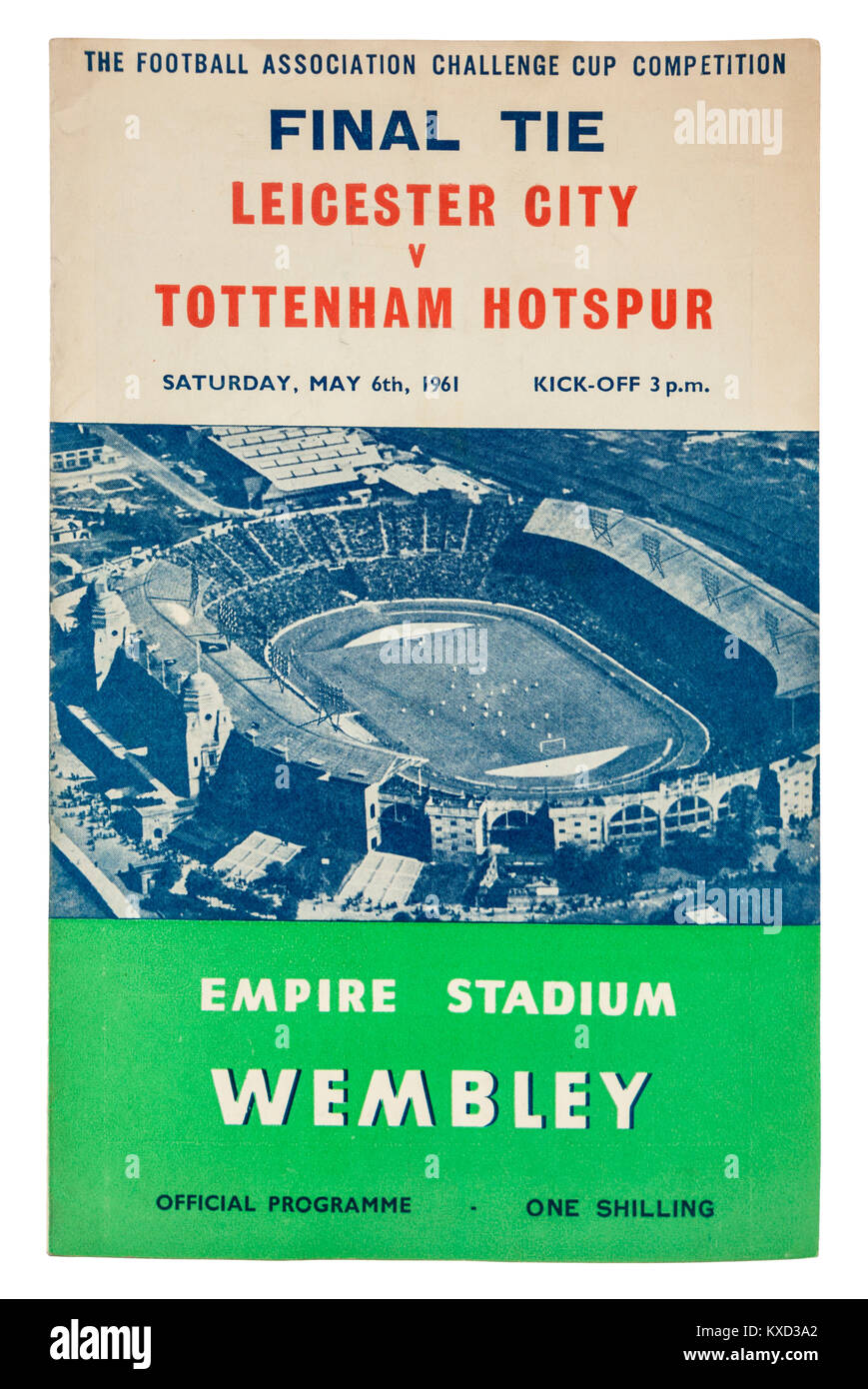 Official programme of the FA Cup Final Tie at Wembley between Leicester City and Tottenham Hotspur on Saturday 6th - Stock Image