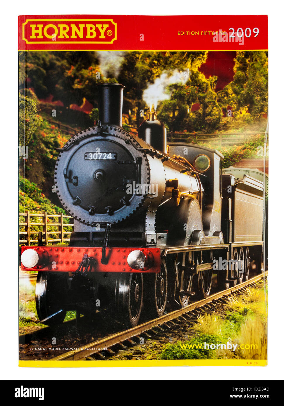 Hornby model railways catalogue from 2009 (edition 55) with London & South Western railway T9 4-4-0 locomotive - Stock Image