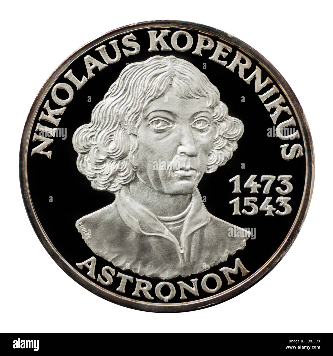 99.9% Proof Silver Medallion featuring Nicolaus Copernicus, the famous Polish astronomer, mathematician and economist. - Stock Image