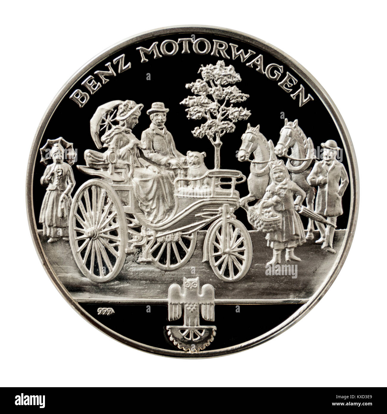 99.9% Proof Silver Medallion featuring Karl Benz on one side and his Benz Patent Motorcar from 1885 on the other - Stock Image