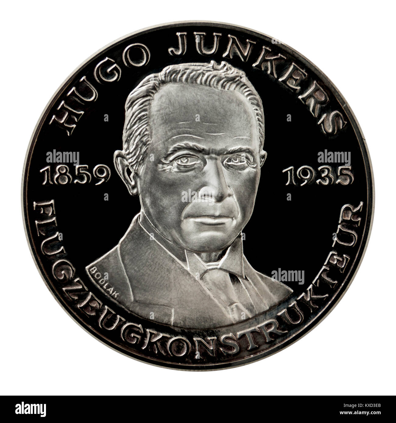 99.9% Proof Silver Medallion featuring Hugo Junkers, the famous German engineer and aircraft designer. - Stock Image