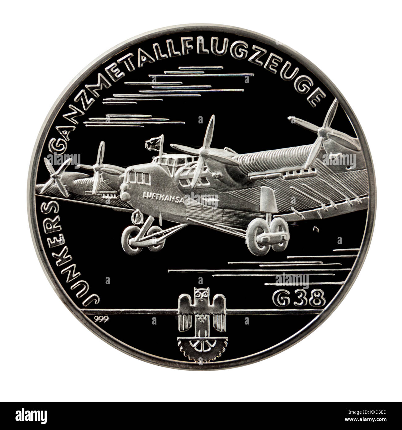 99.9% Proof Silver Medallion featuring the Junkers G.38 transport aircraft on one side and Hugo Junkers, the famous - Stock Image