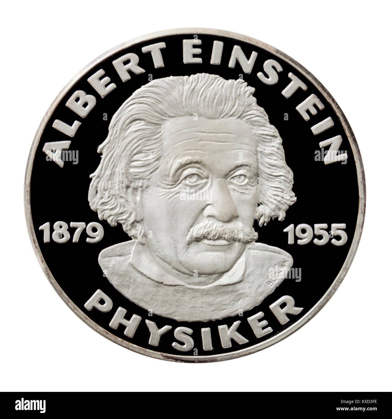 99.9% Proof Silver Medallion featuring Albert Einstein (1879-1955), the famous German physicist. - Stock Image