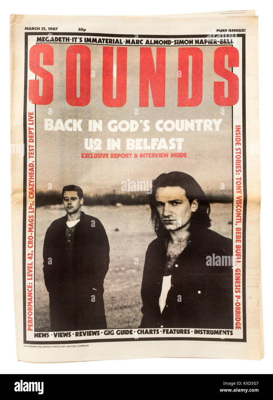 British 'Sounds' weekly music newspaper from 21st March 1987, featuring Bono and Adam from U2 on the front - Stock Image