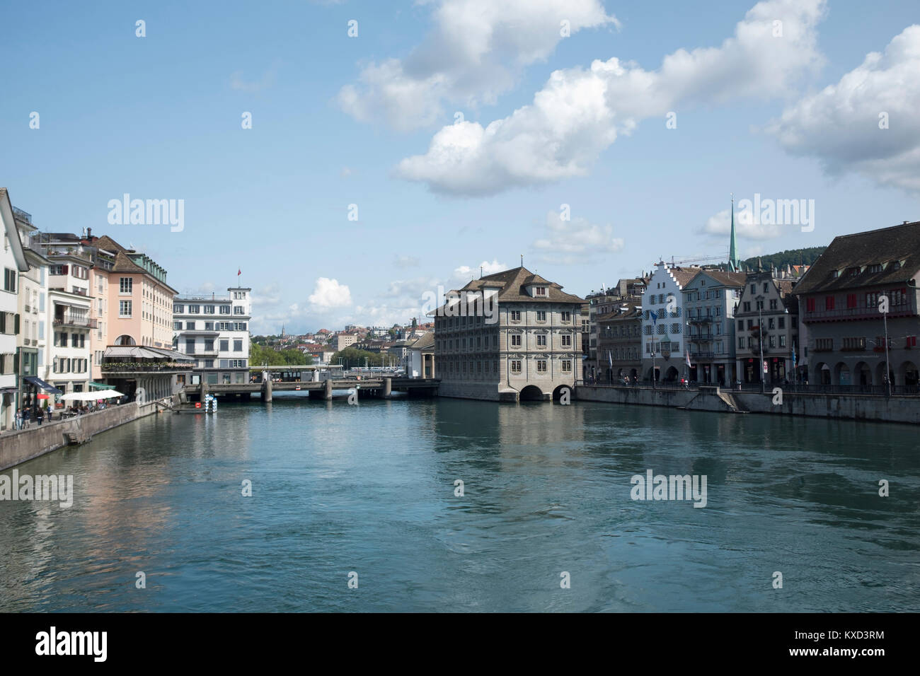 Buildings by Limmat River against sky - Stock Image