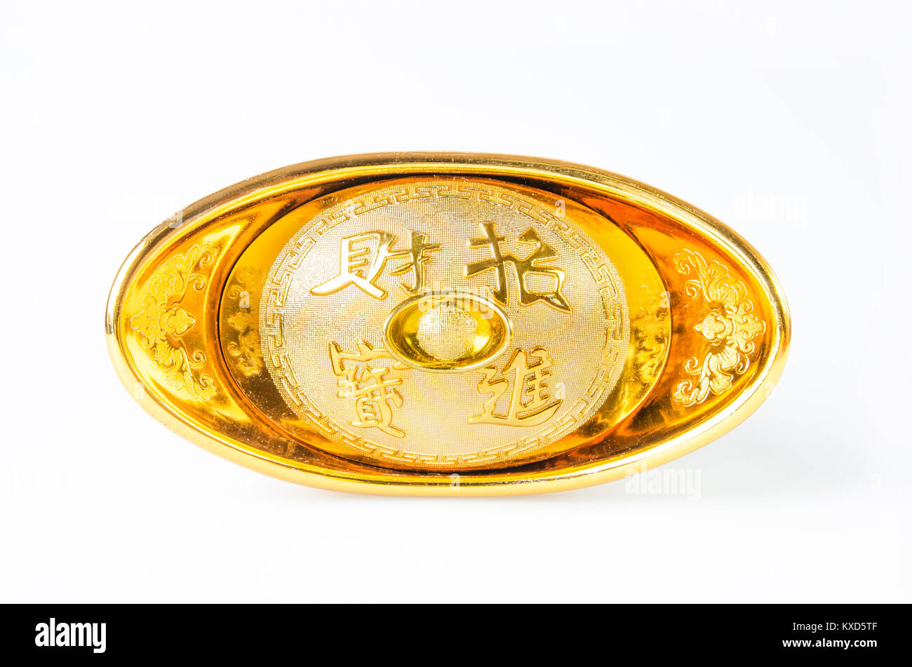 Chinese gold ingot (Foreign text means bring in wealth and treasure) isolated on white background. - Stock Image