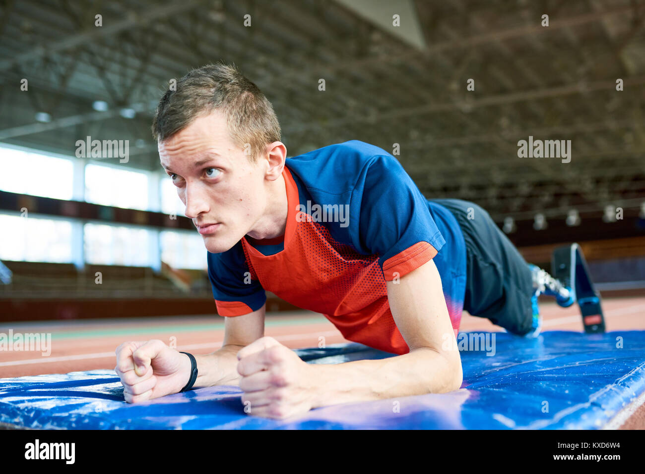 Motivated Handicapped Sportsman in Training - Stock Image