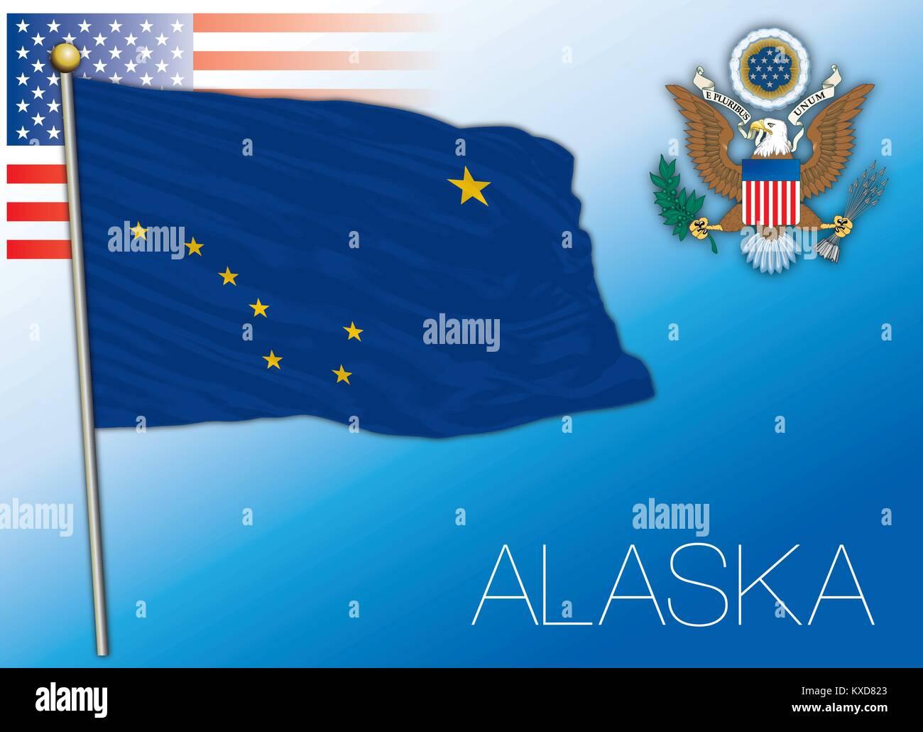 Alaska federal state flag, United States - Stock Vector