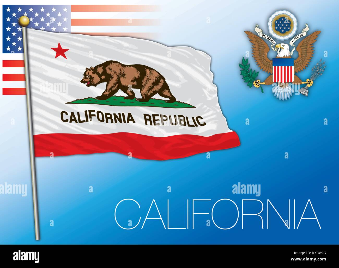 California federal state flag, United States - Stock Vector