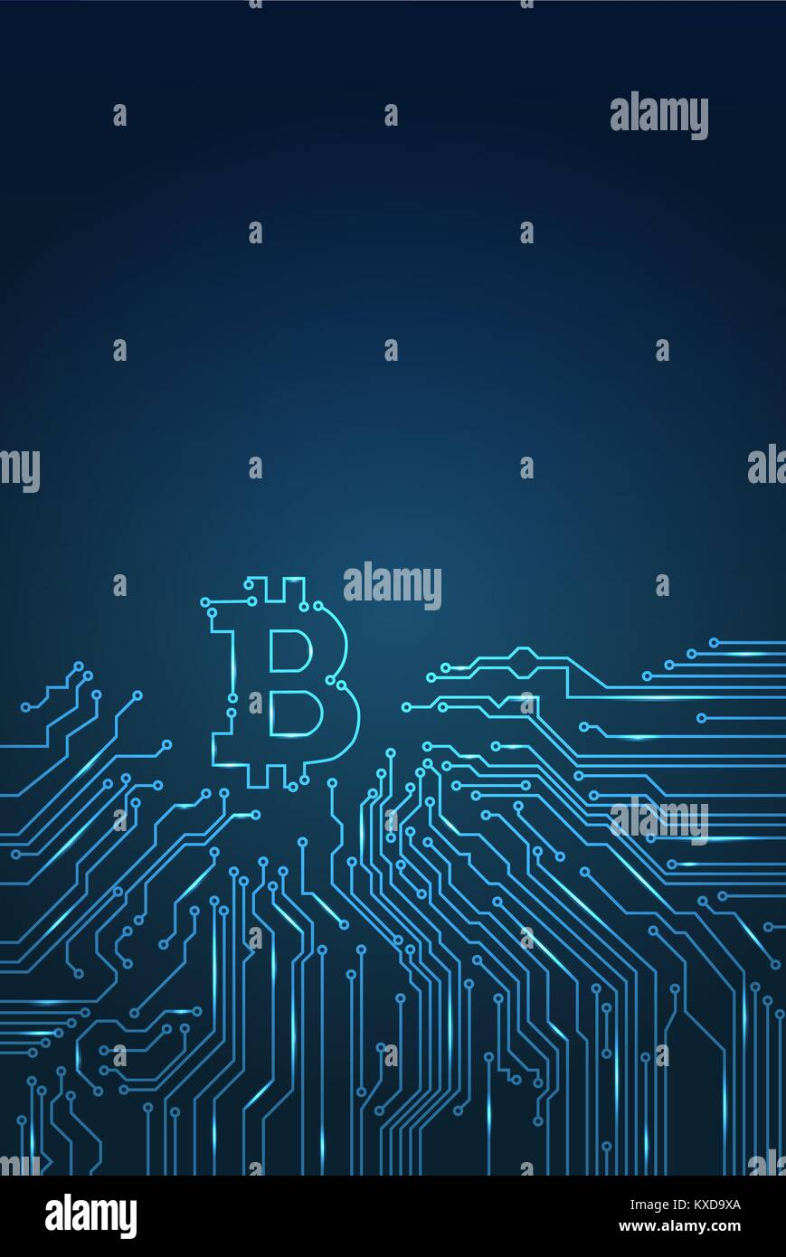 digital bitcoin crypto currency vector background. - Stock Image