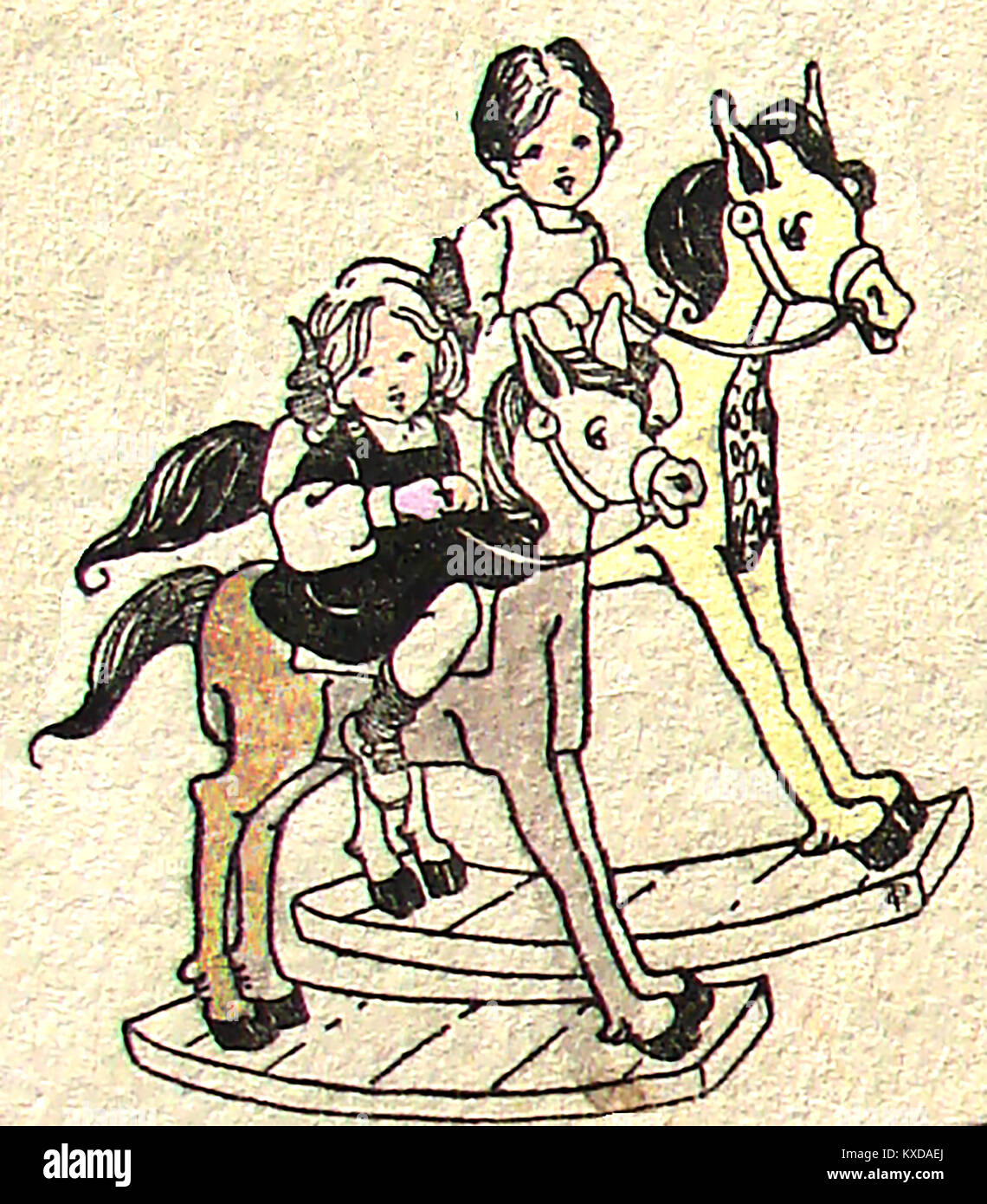 Children at play  in earlier times - Two girls on rocking horses - Stock Image