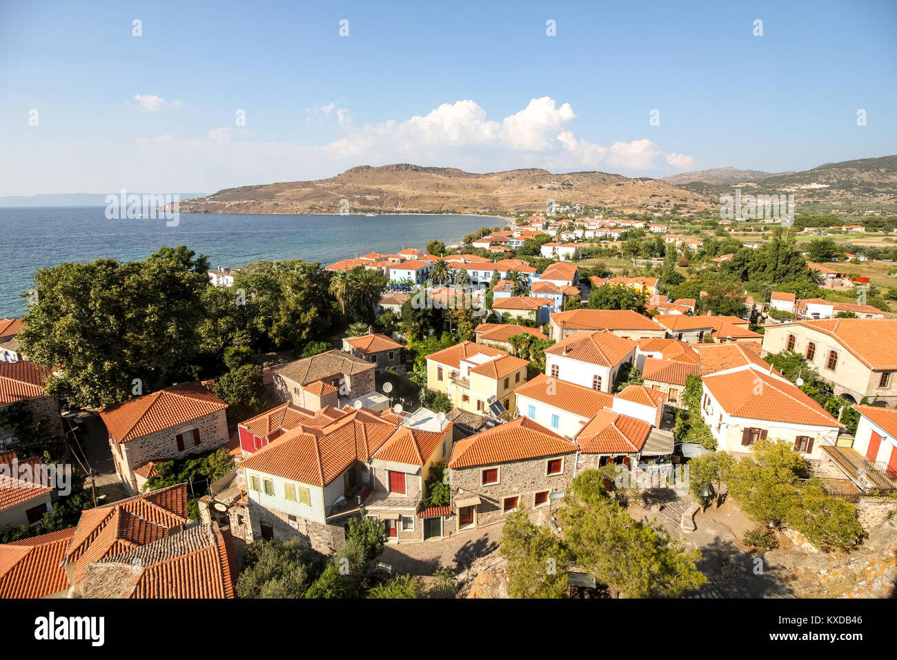 View of Petra town, in Lesvos island, Greece. - Stock Image