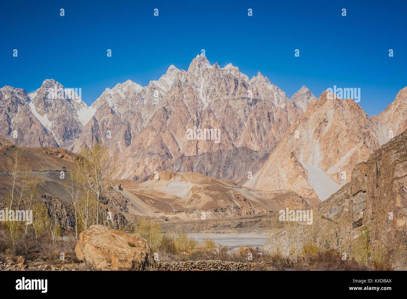 Beuatiful landscape of Northern Pakistan. Passu region. Karakorum mountains in Pakistan. - Stock Image
