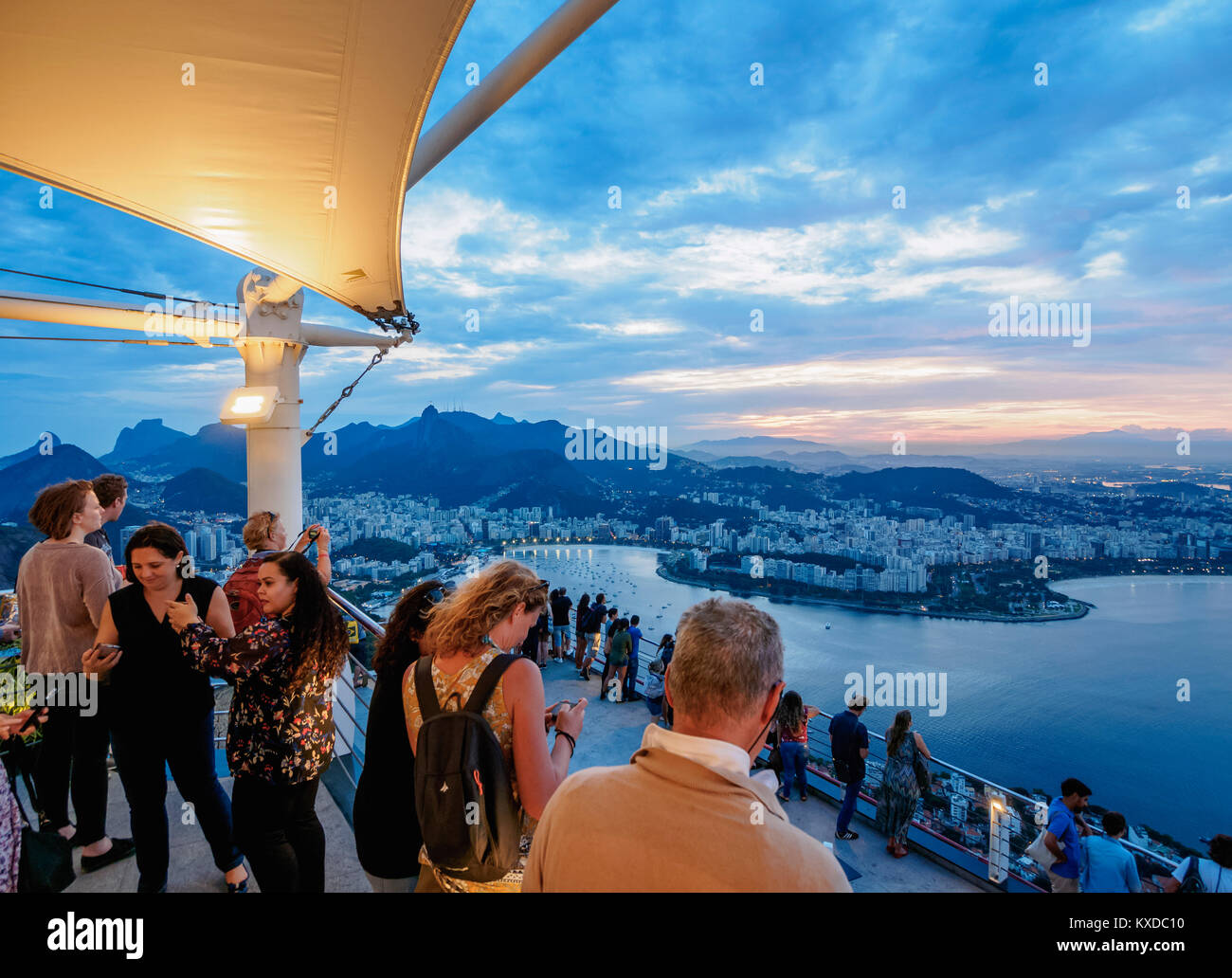 People on top of the Sugarloaf Mountain, Rio de Janeiro, Brazil - Stock Image