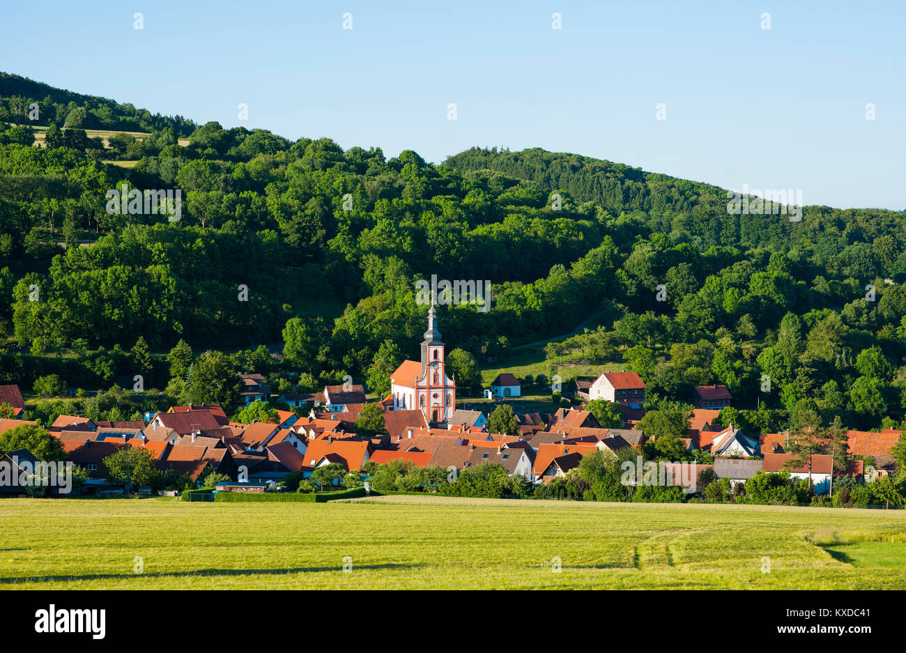Leubach with St.Vitus Church,nature park Park Bavarian Rhön,Bavaria,Germany - Stock Image