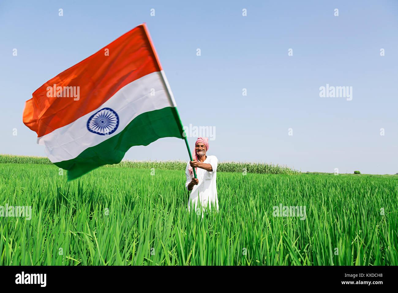 indian farmer holding indian flag stock photos indian farmer
