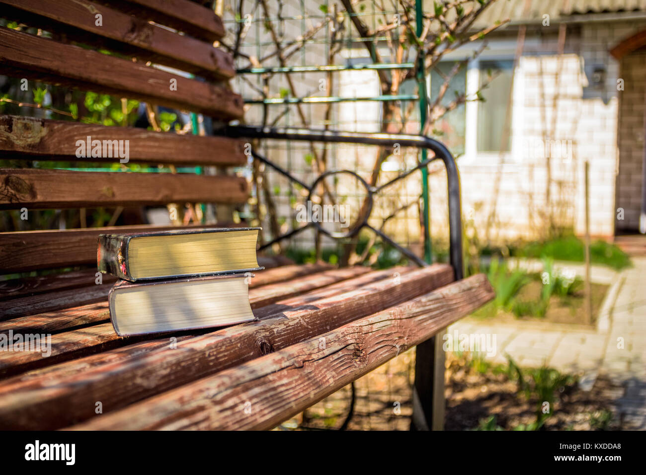 Two books lying on a wooden bench in the bright spring sunny day - Stock Image