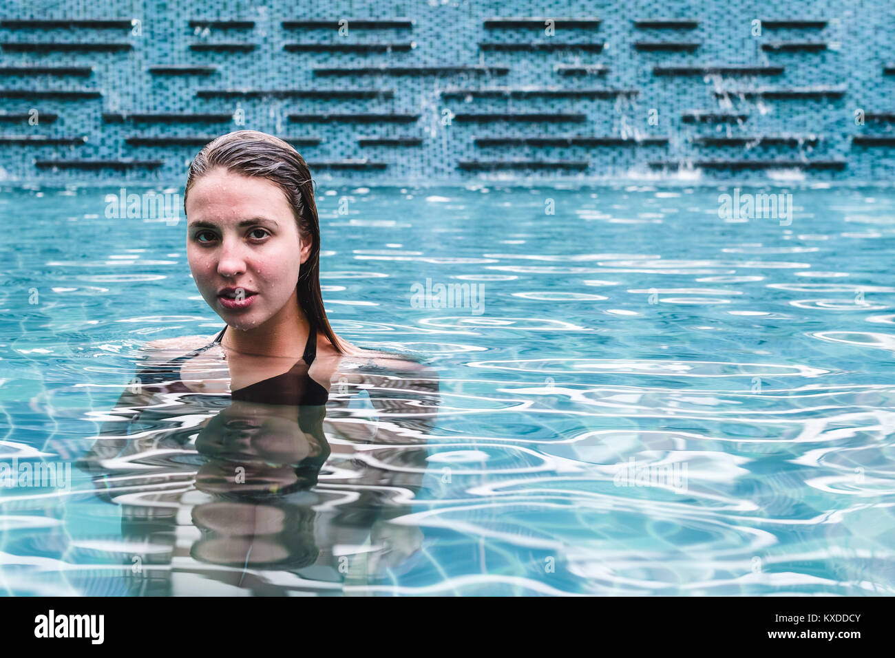 Photo of Girl on a Swimming Pool of a Resort Stock Photo