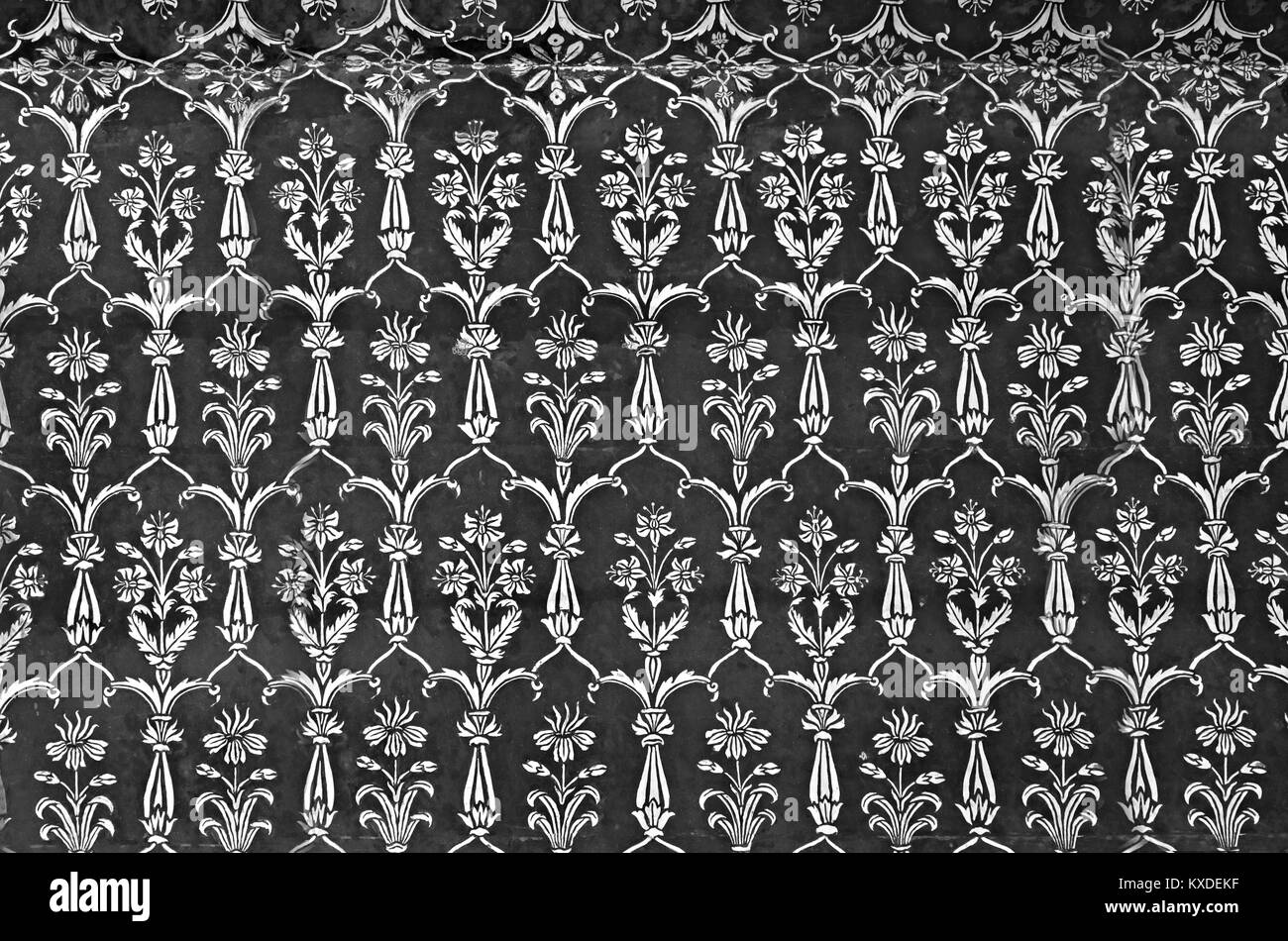 AGRA, INDIA - APRIL 10: Pattern on Taj Mahal on April 10, 2012 in Agra, India. Taj Mahal is widely recognized as - Stock Image