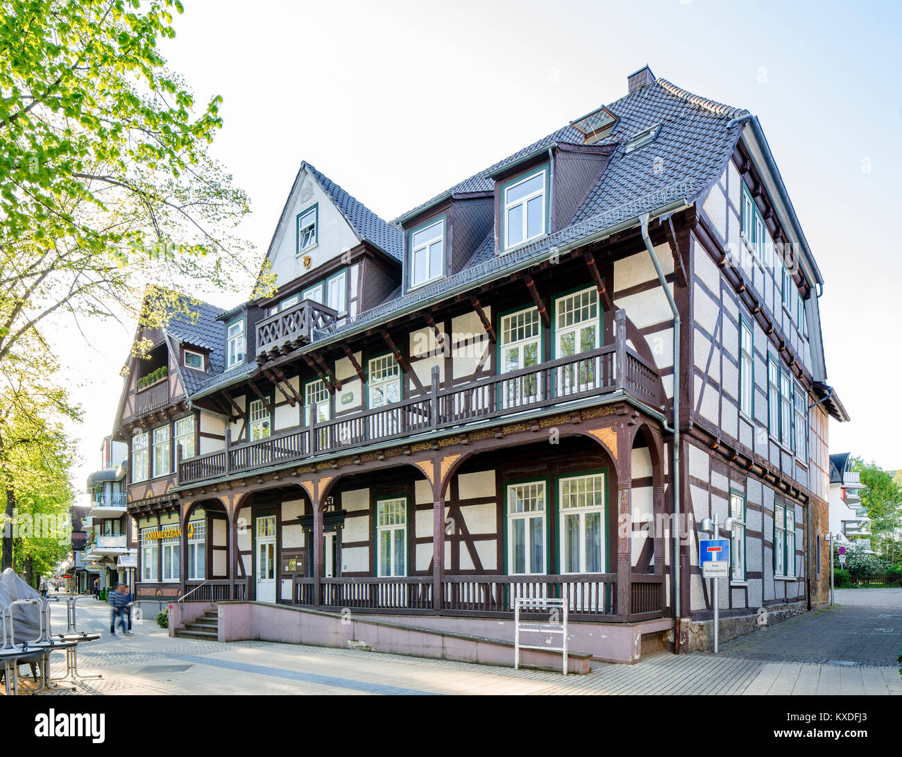 Half-timbered house from 1677,built as a lodging house in the style of the Weser Renaissance,nickname Alter Fritz,Bad - Stock Image