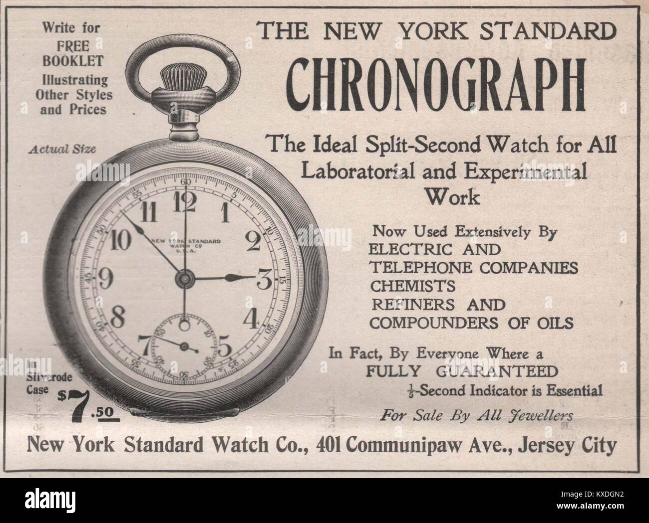 'The New York Standard Chronograph – New York Standard Watch Co, 401 Communipaw Ave., Jersey City' - Stock Image