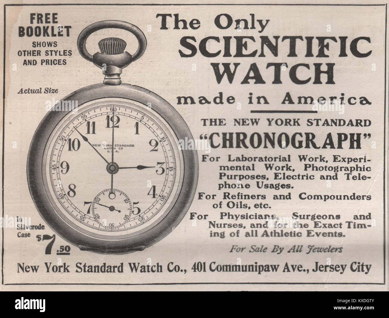 'The only Scientific watch' made in America the New York Standard 'Chronograph' - New York standard - Stock Image
