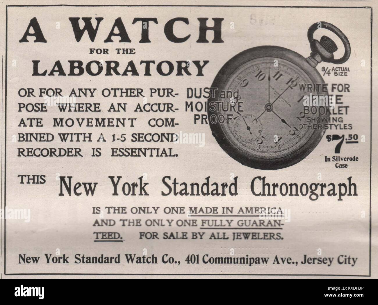 'A Watch for Laboratory' New York standard Chronograph - New York standard watch Co., 401 Communipaw Av., - Stock Image