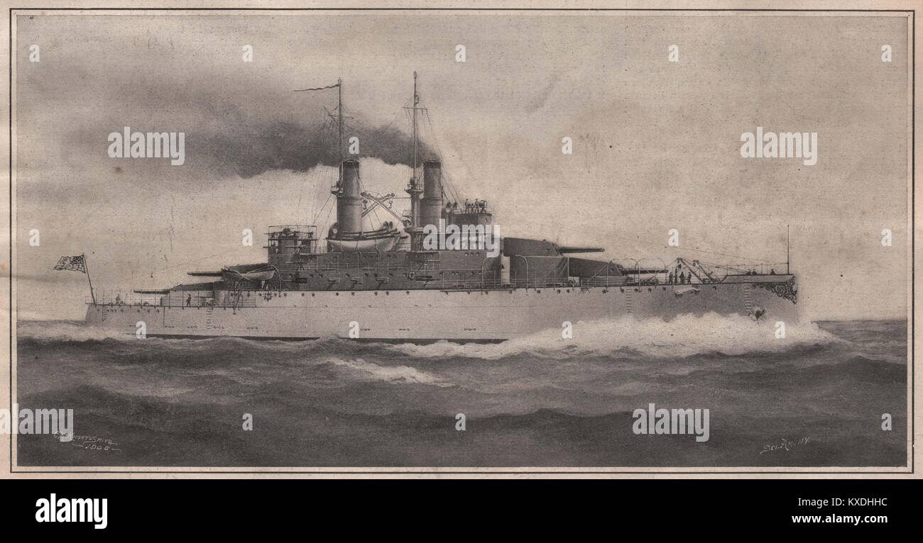 Battleships ' South Carolina' and 'Michigan.' a new type now building. Displacement, 16.000 tons. - Stock Image