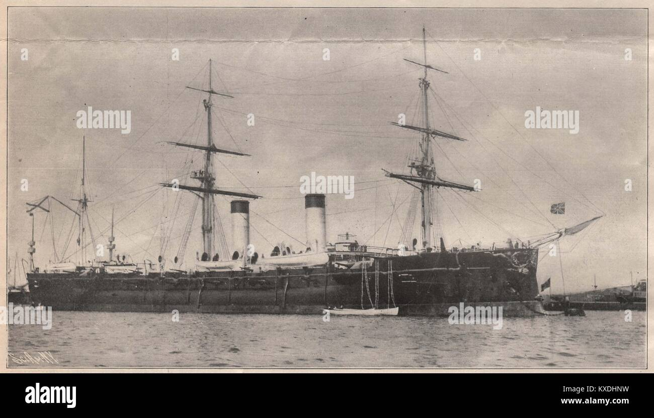 """Russian Armored Cruiser """"Rurik,"""" Sunk in the Korea Strait Engagement. Displacement, 10,950 tons. Speed, 18.8 knots. Stock Photo"""