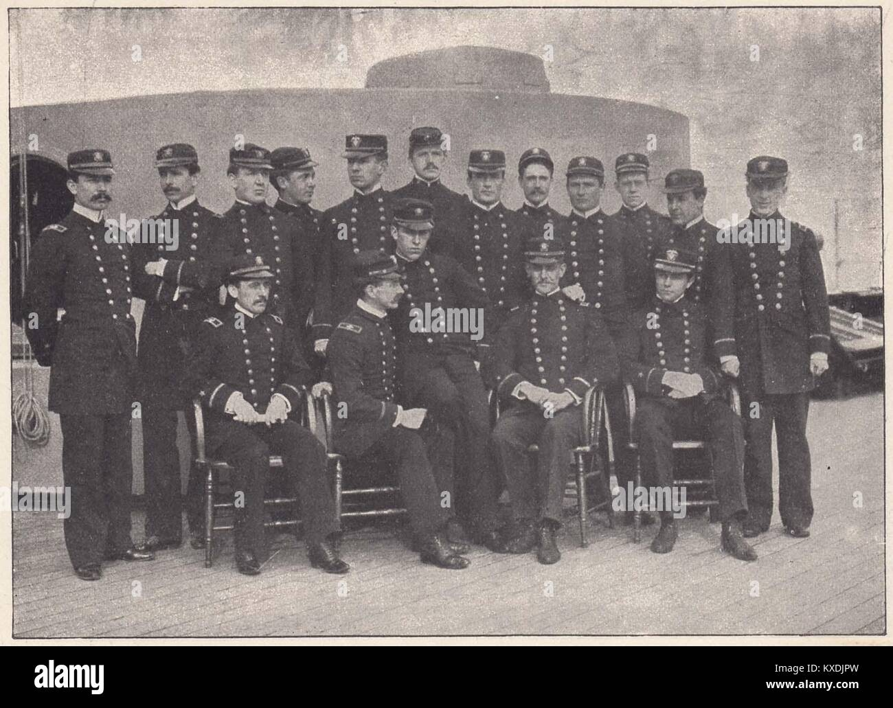 Officers of the Flagship New York - Captain F.E. Chadwick is chief of these men, who are proud of their magnificent - Stock Image