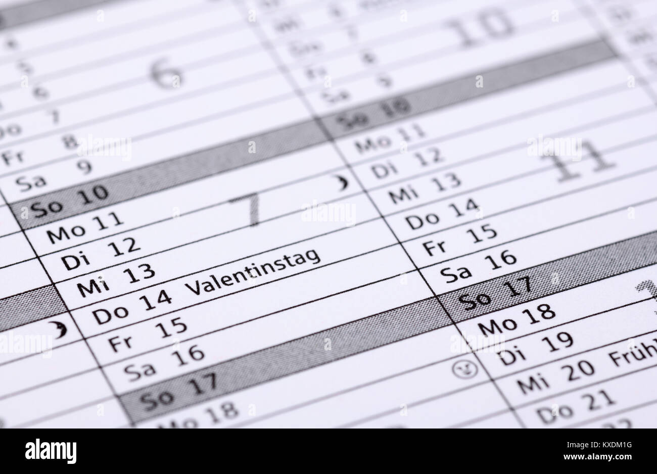 German appointment calendar, Valentine's Day - Stock Image