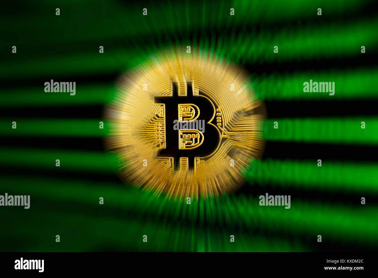 Symbol image digital currency, gold physical coin Bitcoin - Stock Image