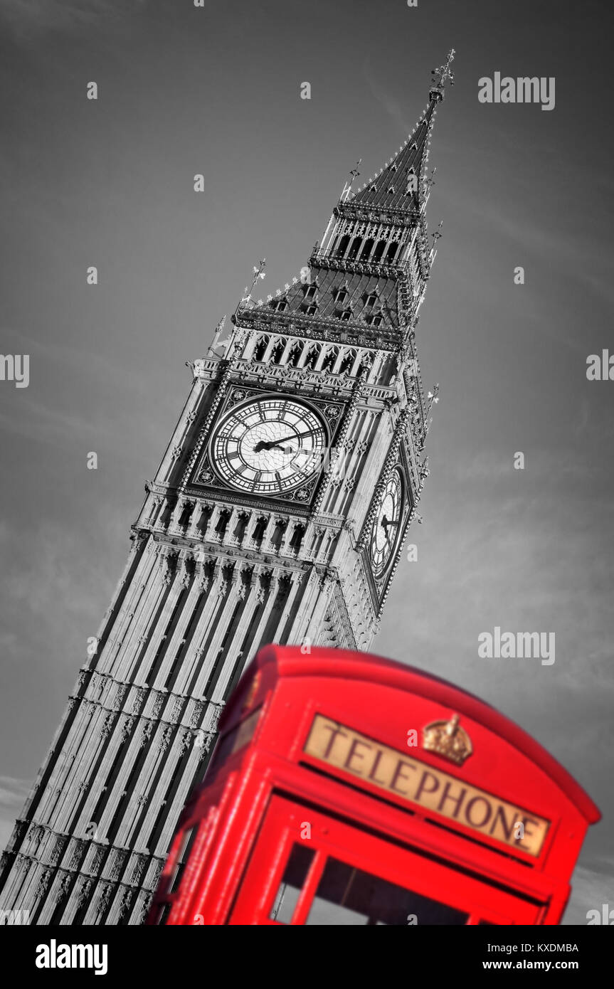 Red telephone box and Big Ben, selective color, London, UK - Stock Image