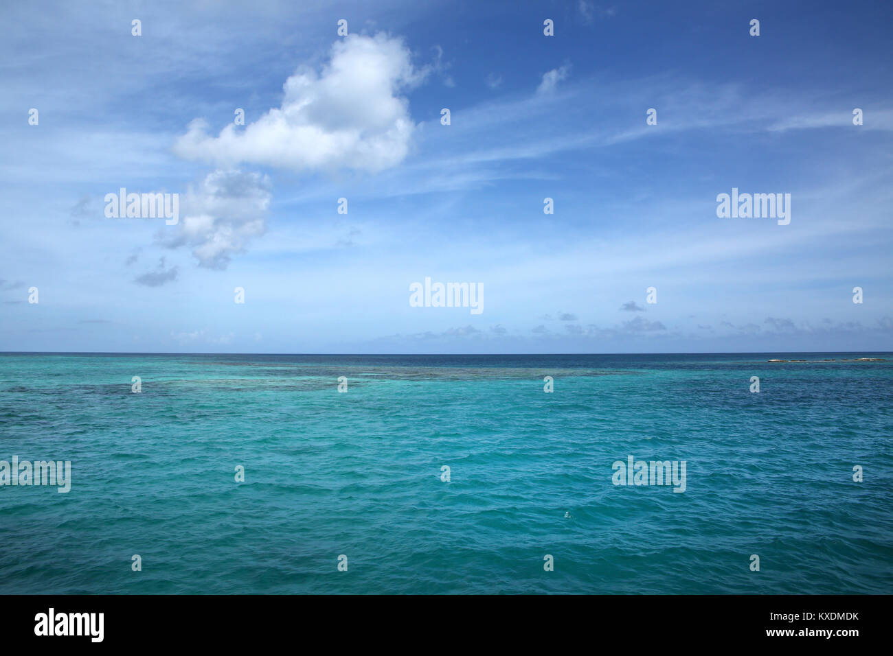 Beautiful tropical ocean view with turquiose water & blue sky, Antigua, Caribbean. With copy space. - Stock Image