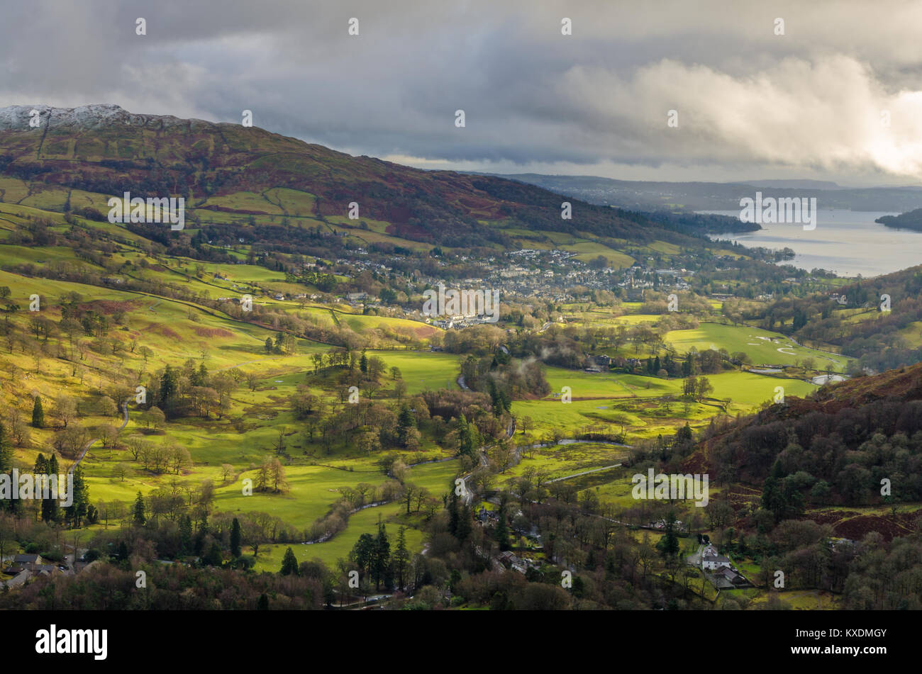 An aerial view of Ambleside from Nab Scar - Stock Image