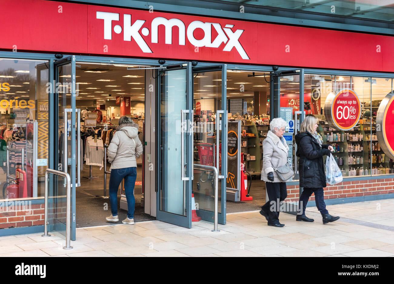 TK Maxx shop front entrance in Horsham, West Sussex, England, UK. - Stock Image
