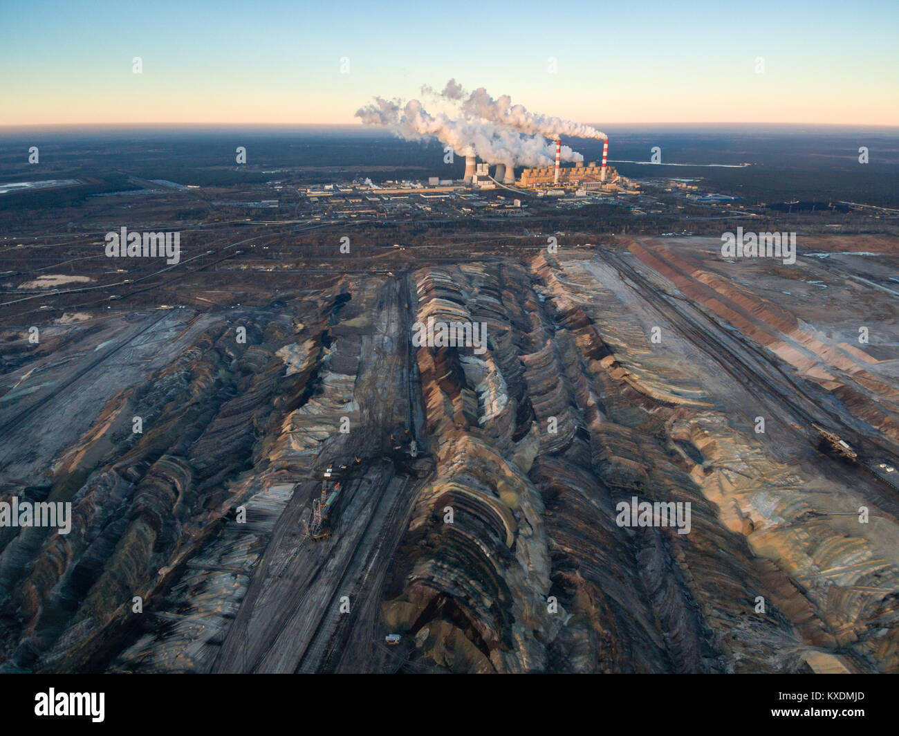Aerial view of open-cast coal mine Belchatow, Poland - Stock Image