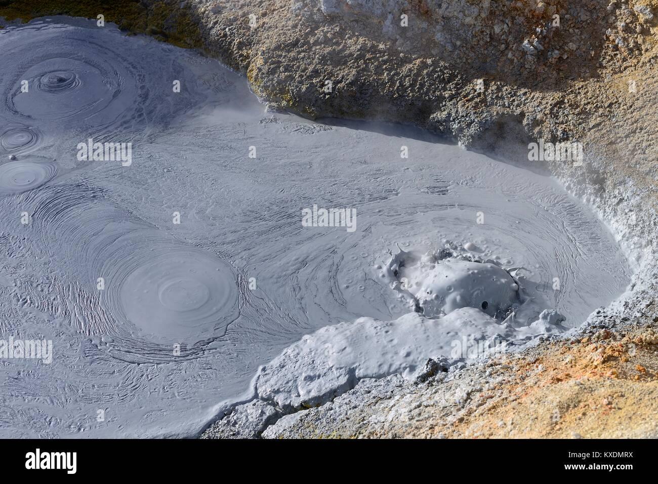 Boiling mud hole at the highest geothermal field in the world, Sol de Mañana, Reserva Nacional de Fauna Andina - Stock Image