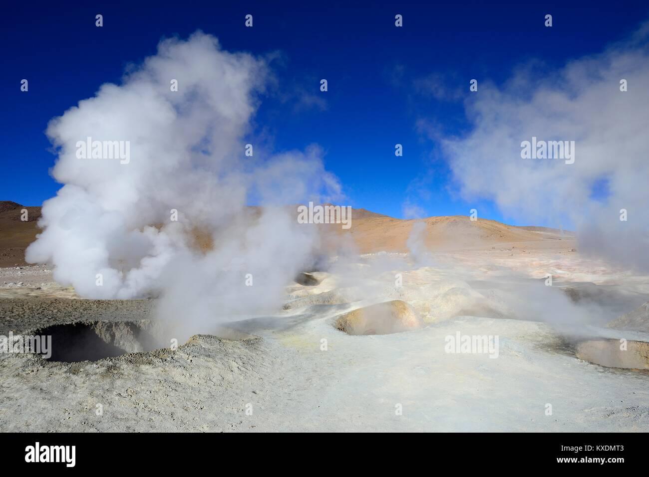Fumaroles at the highest geothermal field in the world, Sol de Mañana, Reserva Nacional de Fauna Andina Eduardo - Stock Image