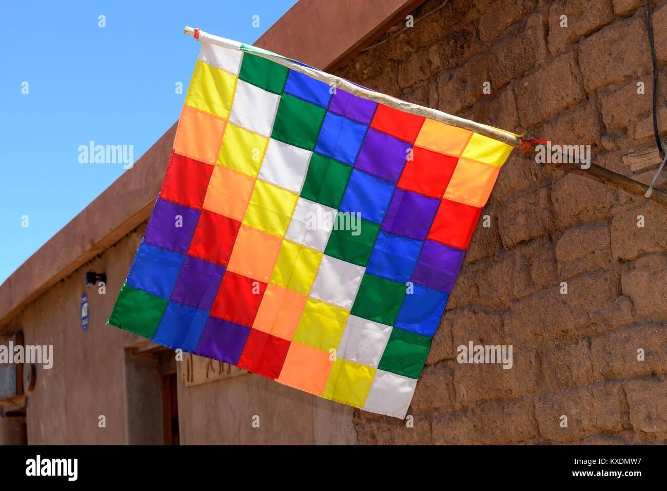 Whipala flag, symbol of the indigenous people, San Pedro de Atacama, El Loa, Antofagasta, Chile - Stock Image
