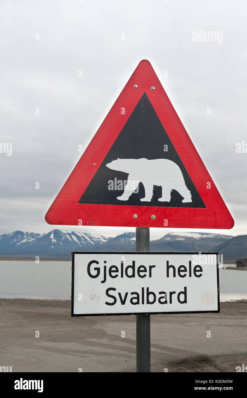 Shield Caution polar bears, Gjelder hele Svalbard, valid all over Spitsbergen, campsite on the coast, Longyearbyen, - Stock Image