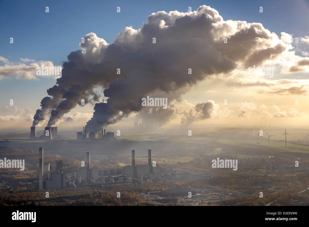 Lignite-fired power plant, Frimmersdorf lignite-fired power plant, RWE Power AG Neurath power plant, BoA 2&3, - Stock Image
